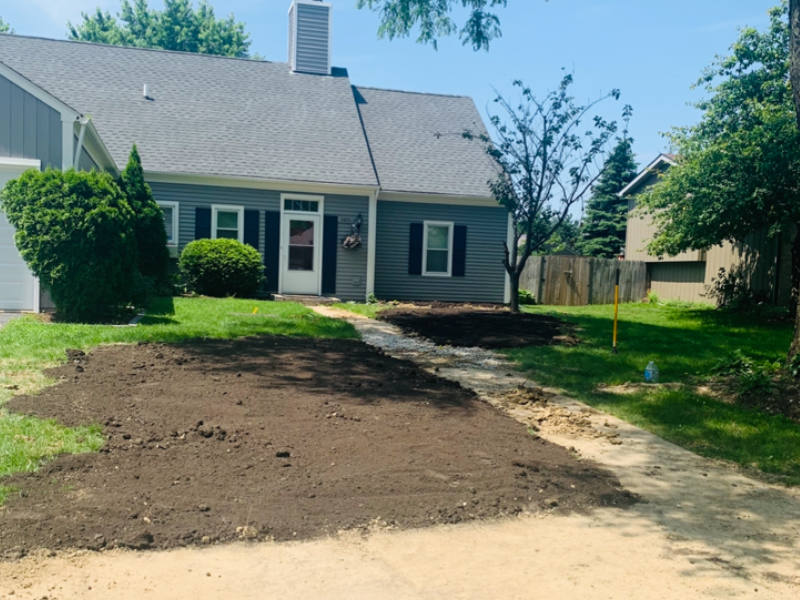 Residential landscaping services on front lawn